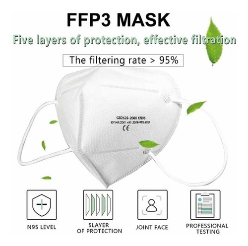 1 máscara respiratória kn95 n95 pff2