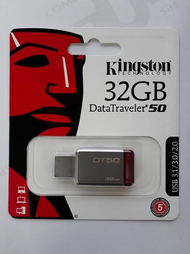 1 memoria usb de 32gb kingston 100% original datatraveler 50