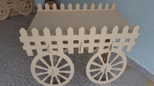 1 mesa carroça fazenda desmontavel mdf cru brinde 2 rodas