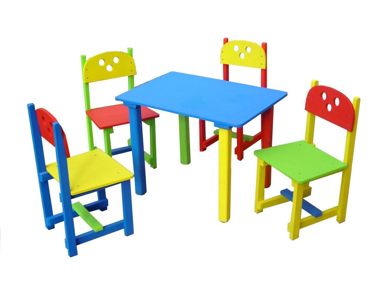 1 mesa y 4 sillas para ni o en colores en for Silla para coche nino 4 anos