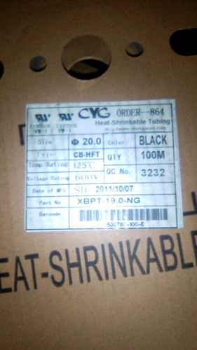 1 metro de cinta termo-encogible/ajustable de 20mm - negro