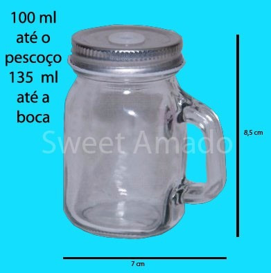 1 mini caneca vidro mason jar até 130 ml lembrancinhas