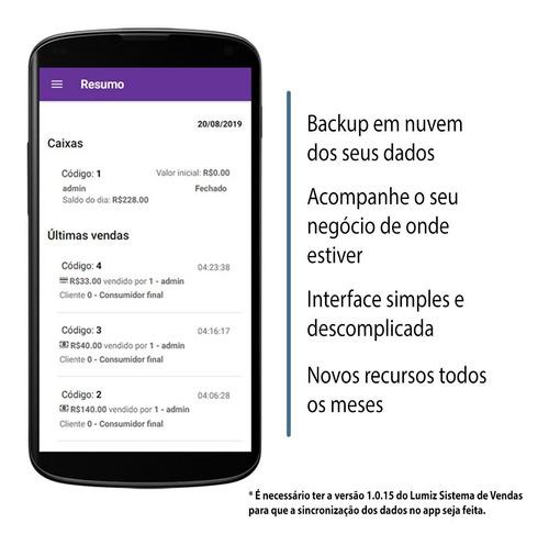 1 mês de aplicativo lumiz + sistema pdv controle de estoque
