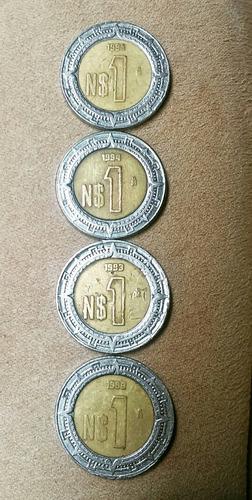 $1 nuevos pesos (2) 1993, (1) 1994, (1) 1995 méxico
