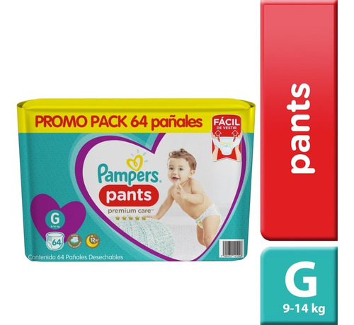 1 paquetes pañales pampers pants premium care 64u talla g