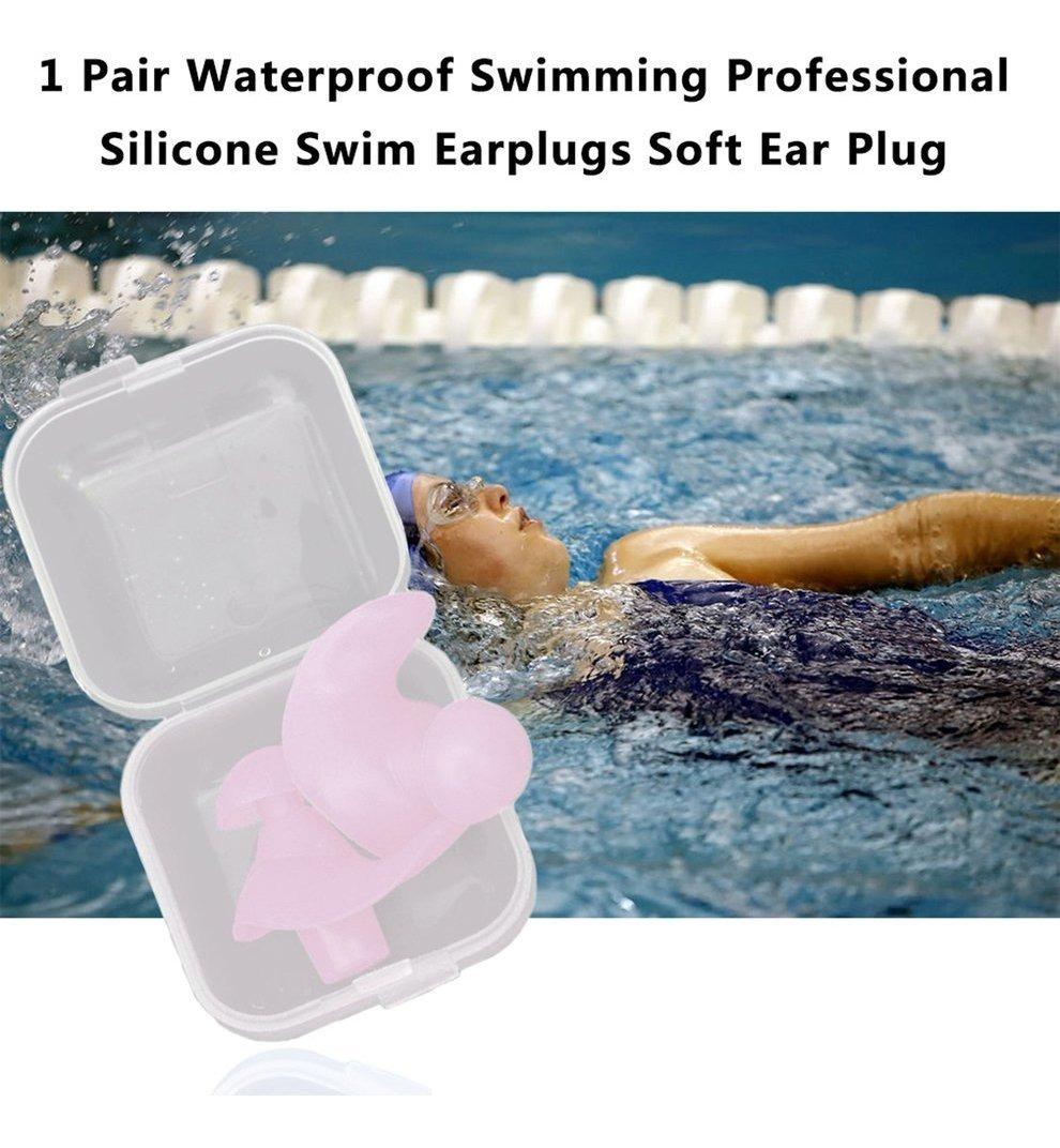 1 par de tapones de silicona para los o/ídos de silicona impermeables tapones para nadar y bucear para adultos y ni/ños