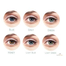 1 Par Lentes De Contato Color Cores Azul Cinza Mel Ou Verde