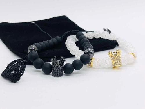 1 par pulseras pareja corona negra king  ajustable negra