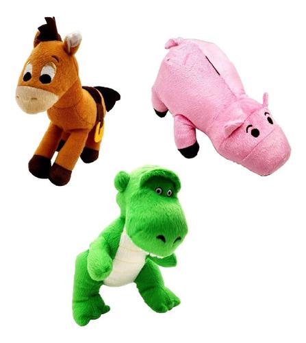 1 pelúcia toy story bala no alvo, dinossauro rex ou porco