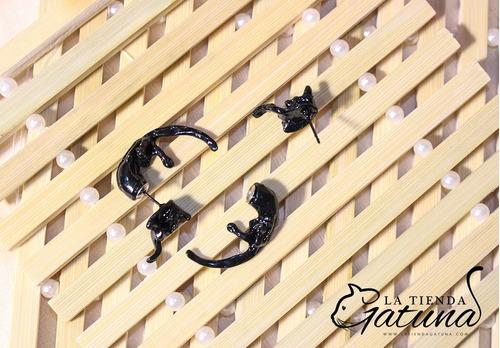 1 pendiente expansión gato negro arete hombre mujer