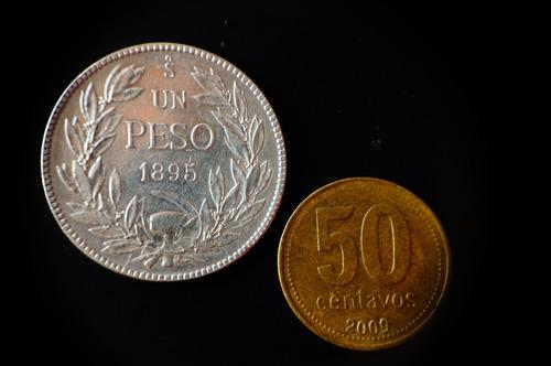 1 peso chileno 1895 -auténtica-plata 900-envío gratis