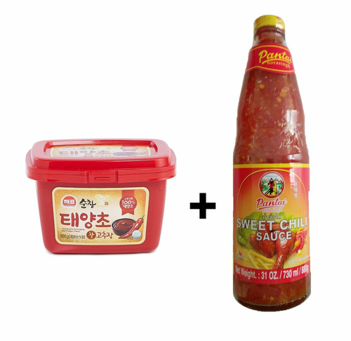1 pimenta gochujang medium hot 500g  + 1 sweet chili 880g