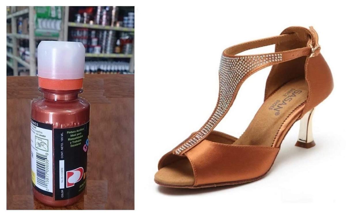 a15b8aa9 1 pintura p/zapatos piel vinyl plastico 120ml cobre metalico. Cargando zoom.