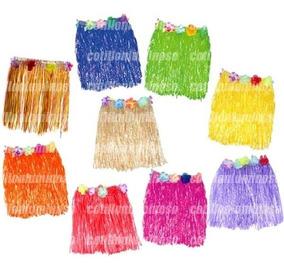 e135bd206 3 Pollera Hawaiana Hula Con Flores 40cm Disfraz Carnaval