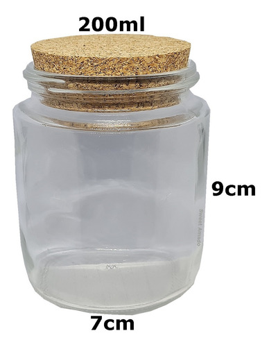 1 pote vidro tampa rolha cortiça 200ml lembrancinha tempero