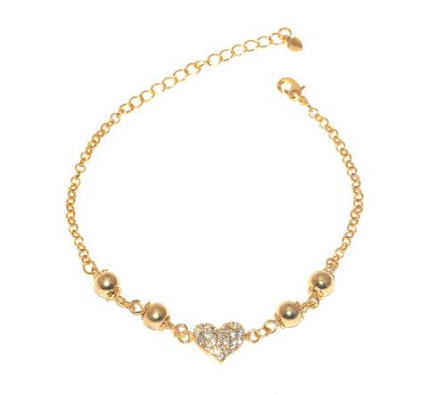 1 pulseira coração strass lembrança madrinhas folheado ouro