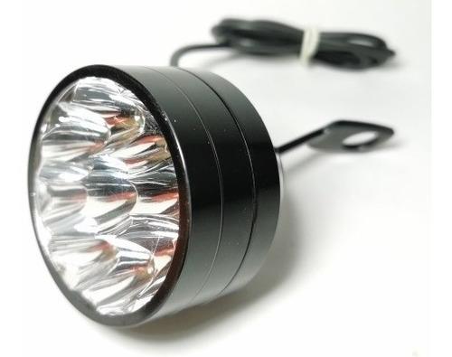 1 pz faro 9 led 27w moto luz fija base espejo negro
