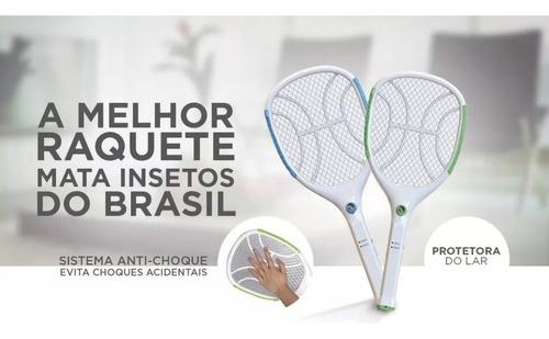 1 raquete elétrica original nsbao com lanterna mata mosquito