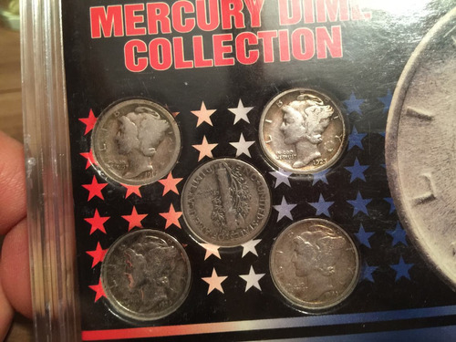 1 set con 5 monedas de plata one dime mercury dollar u.s.a.