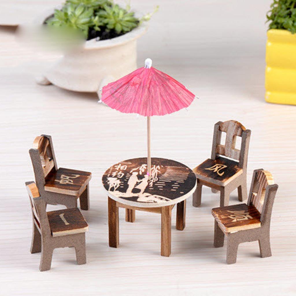 1 Set Sillas Mesa Comedor Miniatura Madera Decoración Para ...