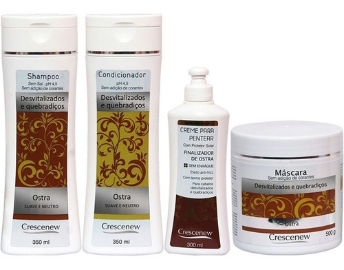 1 shampoo 1 condicionador 1 creme 1 máscara cabelo ostra