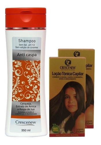 1 shampoo e 2 loções caspa e queda cabelo
