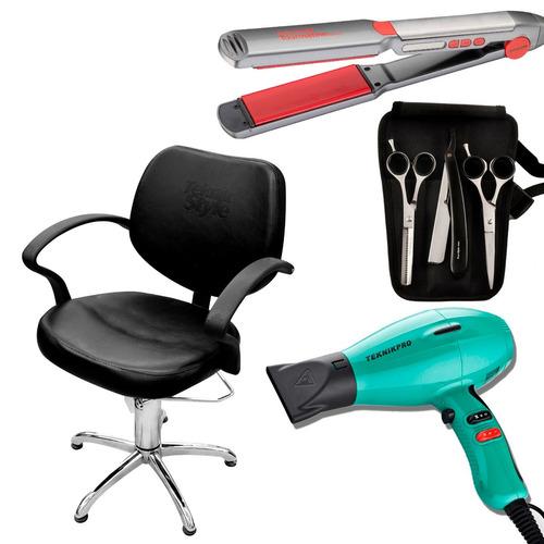 1 sillón + plancha pelo profesional + secador + tijeras