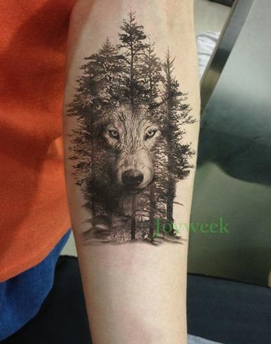 1 tatuagem 20x13cm temporária lobo floresta nº 88