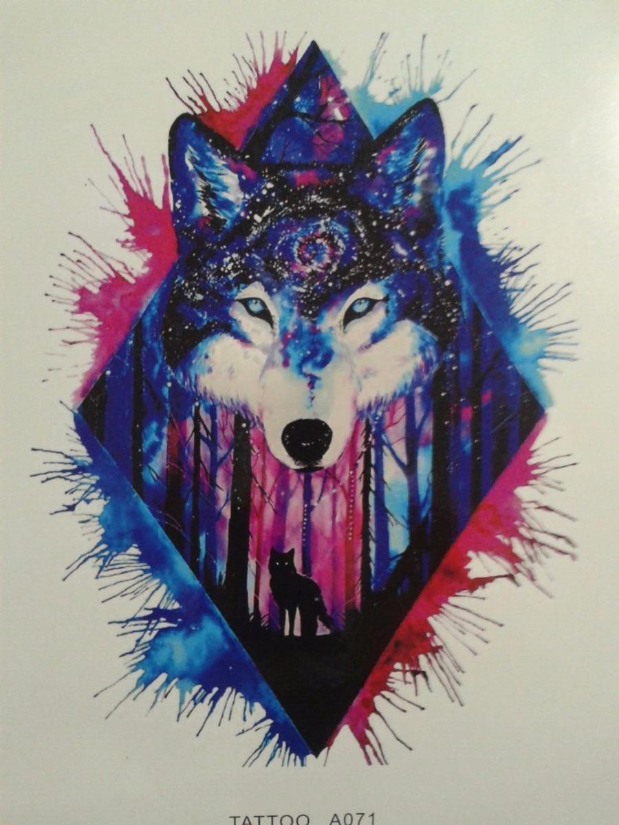 604e39bc9 1 Tatuagem Temporária Lobo Azul/rosa Aquarela Nº 58 - R$ 17,90 em ...
