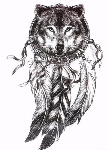 1 tatuagem temporária  lobo penas nº 19