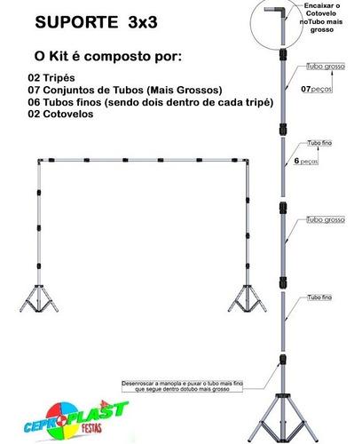 1 tecido 3x3 branco + suporte 3x3 + presilhas + bolsa