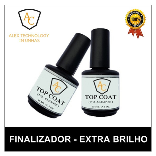 1 top coat selante sem goma unhas extra brilho top - cuiabá