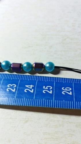 1 tornozeleira pulseira magnética hematita 25 cm orixás iemanjá regula peso emagrece equilibra cura proteção sorte