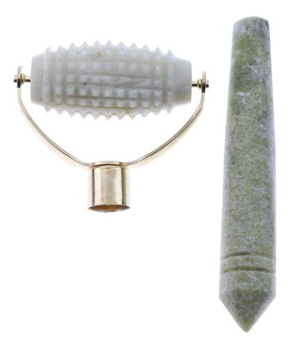 1 unidad palo de masaje jade con rodillo gua sha belleza