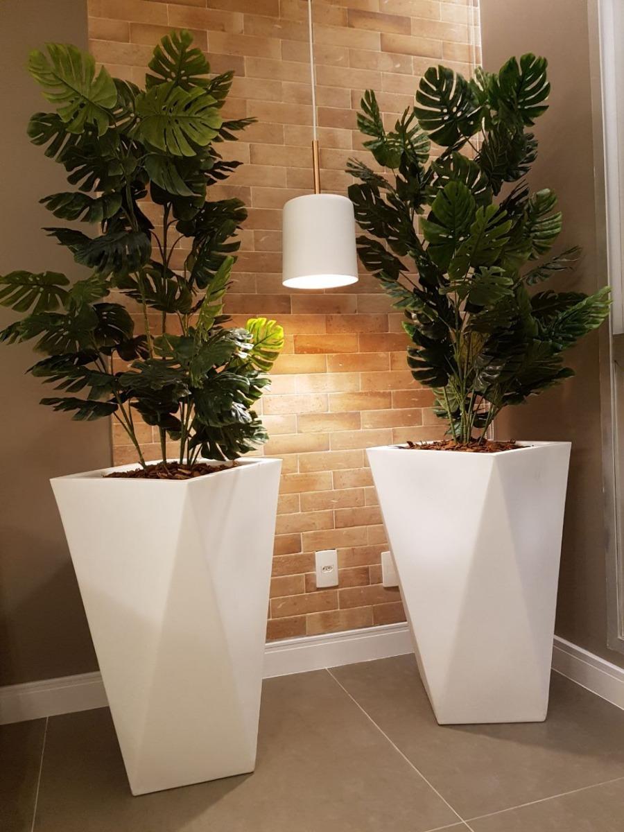 1 Vaso Polietileno Decorativo Grande Planta Sala Ch u00e3o Branco R$ 205,00 em Mercado Livre -> Vasos De Decoração Para Sala Pequena