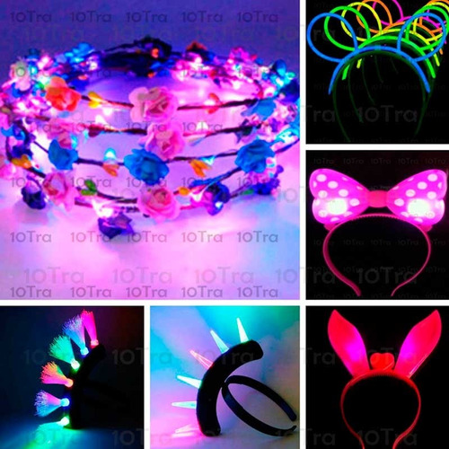 1 vincha led corona flores hippie cotillon luminoso cotillon