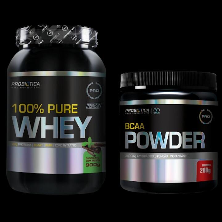 d5c38b122 1 X 100% Pure Whey 900g + Bcaa Powder 200g - Probiotica - R  159