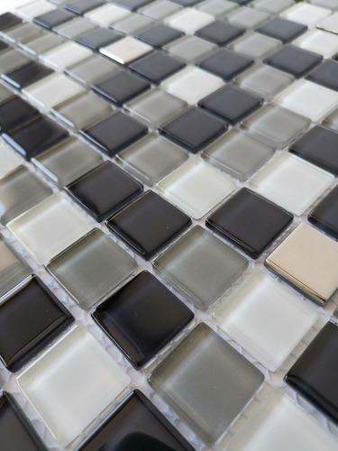 1 x malla mosaico decorativa cenefa en vidrio negro y blanco