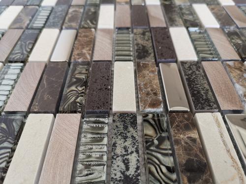 1 x malla mosaico decorativa cenefa vidrio marmol aspen cafe