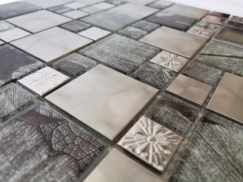 1 x malla mosaico decorativa vidrio aluminio lisboa silver
