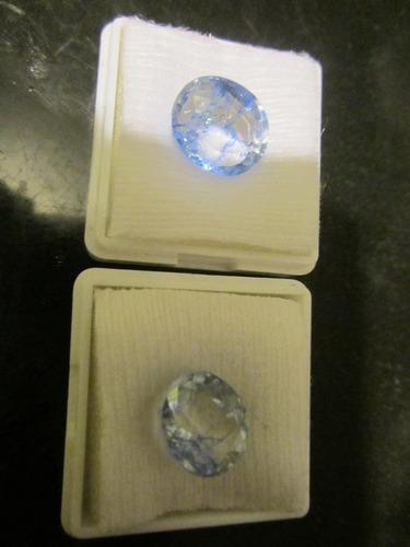 1 zafiro azul corte oval con vitricida para anillo dije