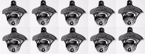 10 abridores de garrafa parede metal vintage cor titanium