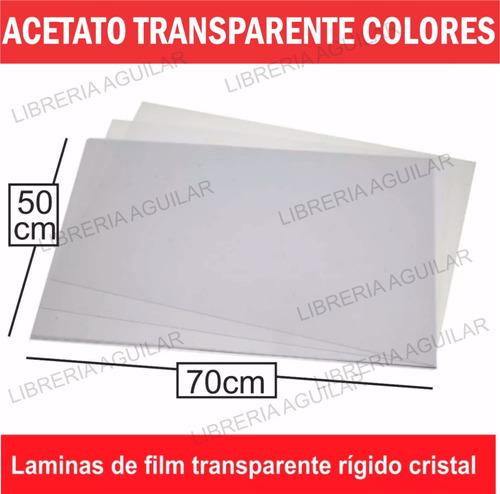 10 acetato laminas de 50x70cm cristal transparentes colores