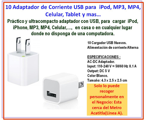 10 adaptador de corriente usb para ipod, mp3, mp4, celular..