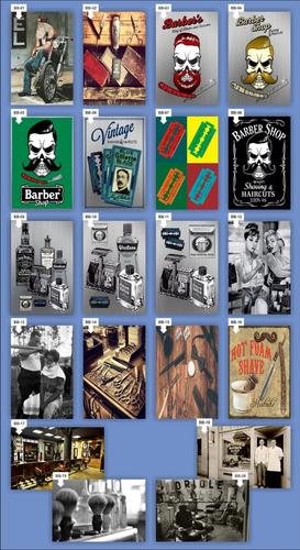 10 adesivos parede estampas 20x30 barbershop barbearia retro