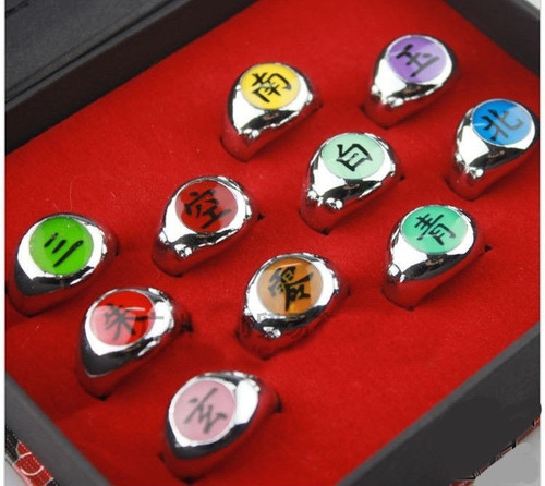 10 anillos akatsuki + collar naruto shippuden envio express