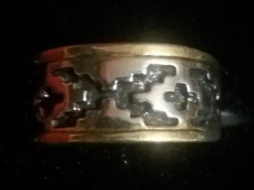 10 anillos de peltre enchapado plata envejecida con dorado i