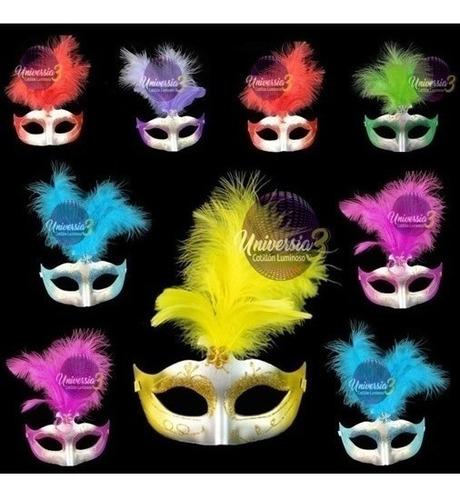10 antifaz pluma s l mascara veneciana cotillon combo