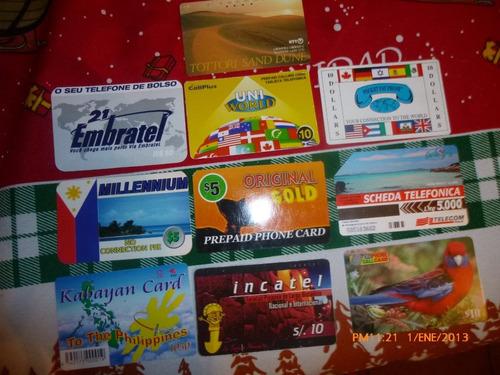 10 antiguas tarjetas telefonicas de prepago diferentes(13w
