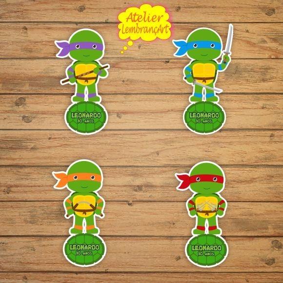 10 Apliques Personalizados Tubete Tartarugas Ninja Cute 10cm R